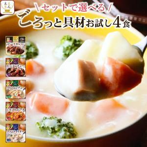 レトルト スープ シチュー 4種 詰め合わせ セット サンフーズ レトルト食品 メール便 ポイント消化 送料無 備蓄 非常食|e-monhiroba