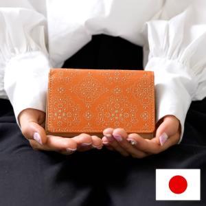 名刺入れ カードケース 本革 日本製 革小物 牛革 フォーマル レース柄 レースフラワー isuru JAPON|e-mono-online