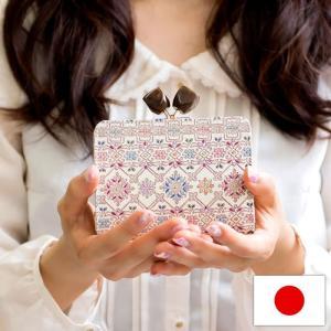 二つ折り財布 がま口 カード入れ 小銭入れあり コンパクト レディース 婦人 本革 日本製 文庫革 手描き フラワーガーデン 友禅文庫【エントリーでポイント10倍】|e-mono-online