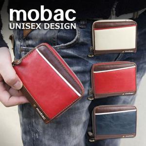 財布 メンズ 二つ折り ラウンドファスナー 二つ折り財布 ツートンカラー バイカラー ジッパー mobac e-mono-online