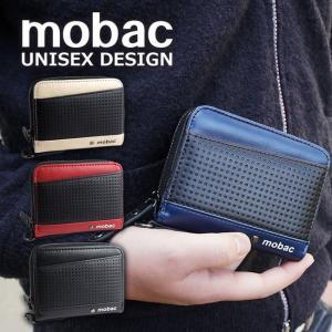 財布 メンズ 二つ折り ラウンドファスナー 二つ折り財布 メッシュエンボス ツートンカラー バイカラー mobac|e-mono-online