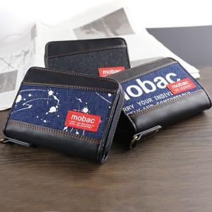 財布 メンズ 二つ折り財布 小銭入れ付 ラウンドファスナー デニム カジュアル 大容量 モバック mobac|e-mono-online