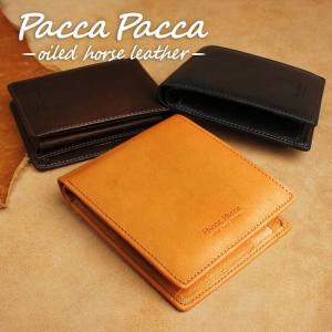 本革 馬革 メンズ 二つ折り財布| チェック柄|pacca pacca