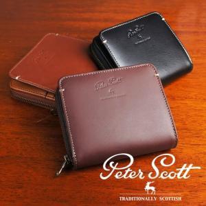 二つ折り財布 ラウンドファスナー 本革 メンズ サイドステッチ Peter Scott e-mono-online