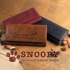 スヌーピー 財布 レディース 長財布 ヴィンテージ 型押し 刻印 シック カード入れ 小銭入れあり フラップ SNOOPY|e-mono-online