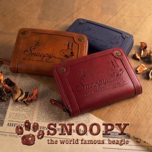 スヌーピー 財布 レディース 二つ折り財布 ファスナー ヴィンテージ 型押し 刻印 シック カード入れ 小銭入れあり SNOOPY|e-mono-online
