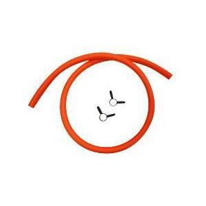 プロパンガス LPG用ゴムホース 内径 φ9.5(色:オレンジ) 2m (ゴム管止め 2ヶ付)|e-mono-ya