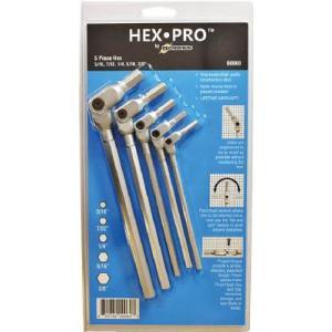 ボンダス HEX PRO ピボットヘッド六角レンチセット 3/16、7/32、1/4、5/16、3/8インチ|e-mono21