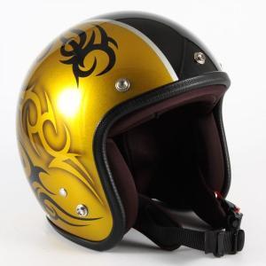 72JAM(ジャムテックジャパン) ジェットヘルメット72JAM JET TRIBAL(ゴールド/ブラックライン) [JCP-26]|e-net