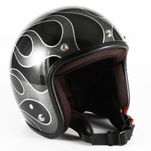 72JAM(ジャムテックジャパン) ジェットヘルメット72JAM JET FLAMES(ブラック) [JCP-42]|e-net
