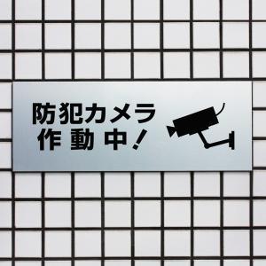 防犯カメラサイン/看板/シルバーアルミ複合版H150×W400mm/【防犯カメラ作動中】BOP-2-1|e-netsign