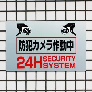 防犯カメラサイン/看板/シルバーアルミ複合版H250×W400mm/【防犯カメラ作動中】BOS-2-1|e-netsign