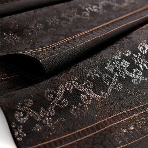 【帯10%offクーポン有♪】桝屋高尾 謹製 西陣織 漆箔 本袋帯 インド華文 黒錦 黒 正絹 日本製|e-obiya
