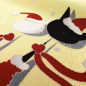 【帯10%offクーポン有♪】十日町友禅 老舗 秀美 謹製 本加工染め クリスマス猫 濱縮緬 九寸名古屋帯|e-obiya