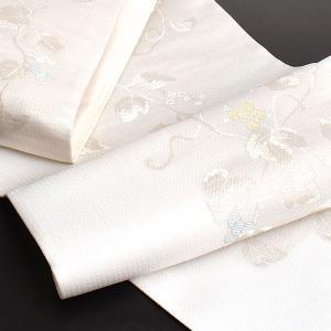 夏帯 袋帯 老舗 西陣織 沢本織物 謹製 葡萄葉文様 袋帯|e-obiya