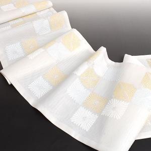 夏帯 袋帯 老舗 西陣織機屋 謹製 菊松葉 袋帯|e-obiya