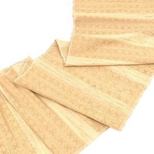 天然クリキュラ繭紬 インドネシア ジョグジャカルタ 王室 認定 花織 九寸 名古屋帯 ベージュ|e-obiya
