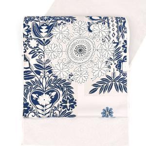 【帯10%offクーポン有♪】西陣織 名門 山口美術織物 欧風更紗文様 本藍染 欧風更紗文様 九寸 名古屋帯 白|e-obiya