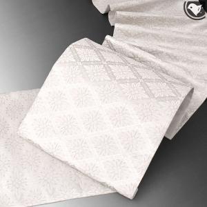 【帯10%offクーポン有♪】西陣織 老舗 ふくい 謹製 錦箔織 華文様 袋帯 白|e-obiya