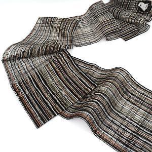 (新古帯) 単衣/夏 西陣織 老舗 渡文 謹製 手織り羅織 八寸 名古屋帯 黒|e-obiya