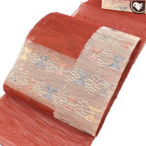 (新古帯) 単衣/夏 西陣織 謹製 紗織 八寸 名古屋帯 赤|e-obiya
