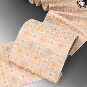 【オーダー商品】河合美術織物 謹製 唐織り 西陣織 能寿華七宝 袋帯 正絹 日本製 ベージュ e-obiya