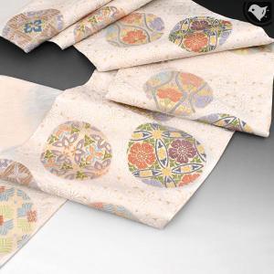 【オーダー商品】西陣織 老舗 丸勇織物 御印文様 唐織 袋帯 正絹 日本製 白 e-obiya