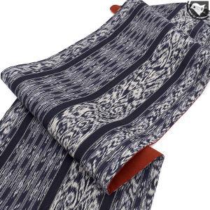 [かなりお得な♪未使用/新古帯!] インドネシア イカット 手織り綿紬 九寸 名古屋帯 九寸 名古屋帯 青  (仕立て上がり帯)|e-obiya