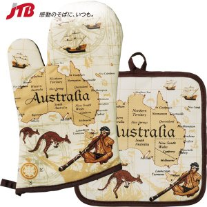 オセアニアのお土産 オーストラリアの思い出が詰まったミトン&鍋敷きをセットに。   ■ミトン...