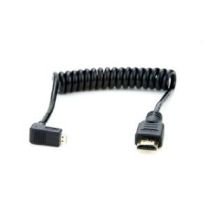 ATOMOS カール加工 L字 micro HDMI to full HDMI Cable (30cm-45cm) ※HDMI 1.4(4K 30p対応)ケーブル(PVC製)ATOMCAB007|e-plaisir-shop