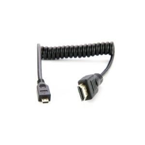 ATOMOS カール加工 micro HDMI to full HDMI Cable (30cm-45cm) ※HDMI 1.4(4K 30p対応)ケーブル(PVC製) ATOMCAB015|e-plaisir-shop