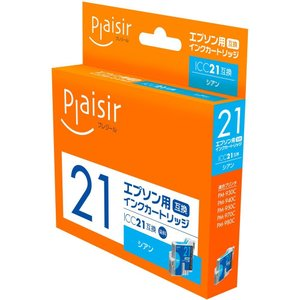 エプソン(EPSON) ICC21対応(シアン) 互換インクカートリッジ プレジール(Plaisir) PLE-E21C e-plaisir-shop