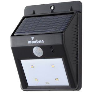 monban LEDセンサーライト ソーラー ウォールライト ブラック 黒 防犯 LS-S1084C-K 07-8207 オーム電機|e-price|02