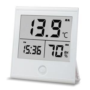 オーム電機 温湿度計 時計付き TEM-210-W 08-0...