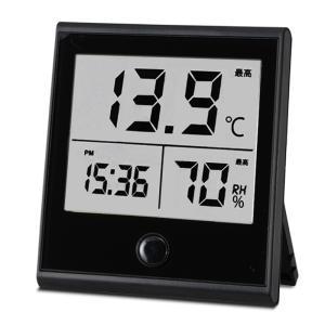 オーム電機 時計付温湿度計 TEM-210-K 08-009...