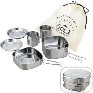 SOLA(ソラ)角型キャンピング鍋6点セット  (793610) ペアで使える鍋・マグ・皿のセット