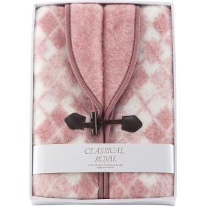 ジャカード織 衿付きアクリルベスト  (ピンク) (WAB-502) 暖かいベスト 21s2876-016 e-prom