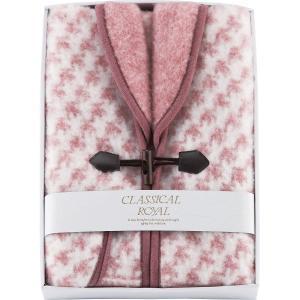 衿付ジャカード織アクリルベスト  (ピンク)    (WAB-501P)  日本製 暖かベスト 21s7607-064 e-prom