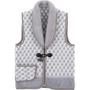 衿付ジャカード織アクリルベスト  (グレー)    (WAB-501G)  日本製 暖かベスト 21s7607-072 e-prom