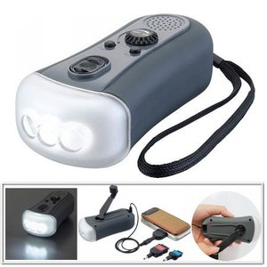 ダイナモ充電器FMラジオLEDライト   77700 スマホ充電が可能なダイナモライト 防災グッズ (z049s05)