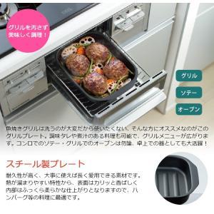 魚焼きグリル プレート 角型 スチール製 IH 直火対応 オーブン グリル e-rakuichi 02