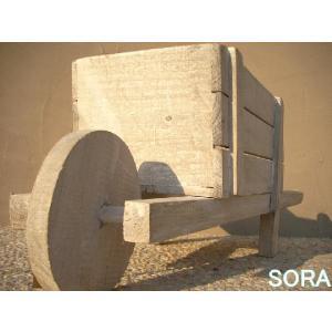 ナチュラルウッド 一輪車プランター|e-sora