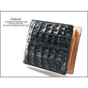 折財布 カイマンクロコ腹革 ビルフォード GODANE 8009cpBel ブラック