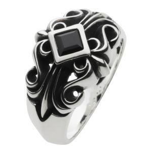 シルバーアクセサリー シルバーリング 指輪メンズ オニキス フローラルクロスリング 指輪シルバー925リング|e-standard
