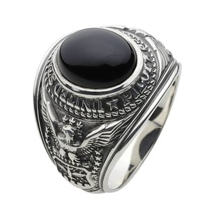 指輪 メンズ シルバーリング カレッジリング オニキス 指輪 クリスマス プレゼント|e-standard