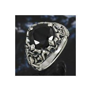 シルバーアクセサリー シルバーリング 指輪メンズ ブラックストーン ユリ・百合の紋章 シルバー925リング 男性用|e-standard
