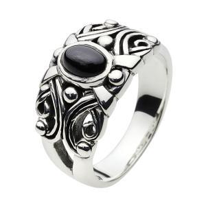 シルバーアクセサリー シルバーリングメンズ 指輪シルバー925リング ブラックスター メンズピンキーリング 男性用 e-standard