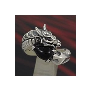 指輪 シルバーリング メンズ オニキス ドラゴンリング 指輪|e-standard