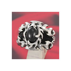 シルバーアクセサリー シルバーリング 指輪メンズ エイ革 スティングレイ シルバー925リング ブラックスター 男性用|e-standard