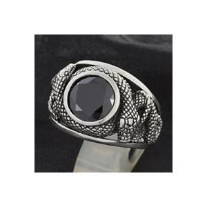 シルバーアクセサリー シルバーリング 指輪メンズ 蛇・スネークリング アニマル 指輪シルバー925リング ブラックcz|e-standard